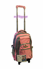 Rolling Wheeled Backpacks Carry-ons Trolley School Bag Laptop Backpack (Pink)
