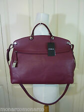 NWT FURLA Burgundy Red Wine Classic Pebbled Leather Piper Satchel Bag $448