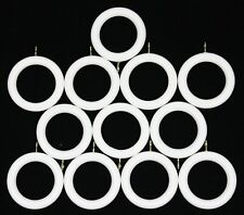 12 x White Wooden Curtain Rings for 35mm dia Pole NEW