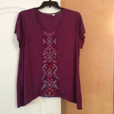NEW Eyeshadow -  Purple embroidered  front/assymetric Women Top  Plus Size 1X