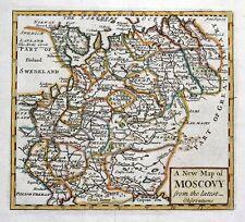 MOSCOVY, WESTERN RUSSIA , John Senex original antique hand coloured map 1741