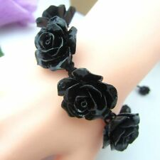 New Handmade Bracelet Big Black Rose Real Coral Bangle Adjustable Jewelry Gift