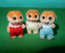 Calico Critters, Sylvanian Families RETIRED MEERKAT BABY TRIPLETS ONLY free ship