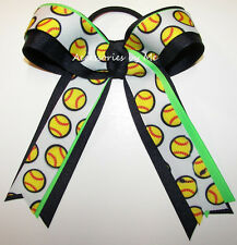 Softball Ribbon Hair Bow Navy Neon Green Ponytail Holder Girls Accessories Ties
