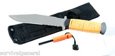 """11"""" Orange Camping Paracord Outdoor Knife Fire Starter Whistle Survival Blade"""