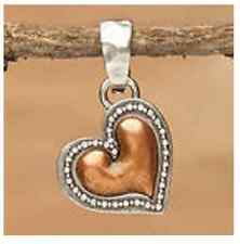 Mix & Match Flirty Copper  Heart Pendant / Charm  Big Sky Carvers Silver