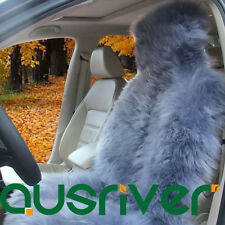 Grey Premium Quality Australian Sheep Skin Car Long Wool Front Seat Cover