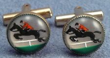 Horse Jump Cufflinks Reverse on Glass Horseback Rider Jumper Vintage Cuff Links