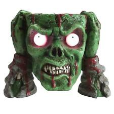 New Zombie Head Candy Bowl Prop 8 in. Green LED Lighted