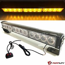 "14"" LED Amber Light Emergency Warning Strobe Flashing Yellow Bar Hazard Security"