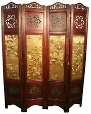 """NEW Asian / Orient Vintage Style 4 Wooden Panels Screen Room Divider 71""""x64"""" GL"""