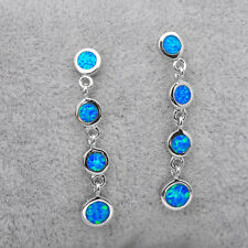 Blue Fire Opal Chain Drop/Dangle Earrings Women's Fashion Silver Plated Jewelry
