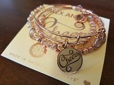 ALEX AND ANI CHEERS SET OF 3 SHINY ROSE GOLD BRACELETS NEW W/BOX