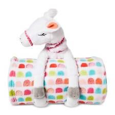 """NEW Pillowfort 50""""x60"""" Llama Throw & Pillow Buddy 2-Piece Set - White"""