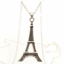Sterling Silver Eiffel Tower Design Pendant and Chain with Oxidized Detail