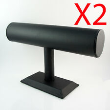 X2 Black Leather T-bar Bracelet Bangle Watch jewellery display stand holder