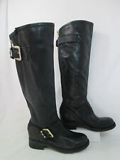 Steve Madden BARTON Studded Leather Buckle Knee High Fashion Boots Black Sz 6-M