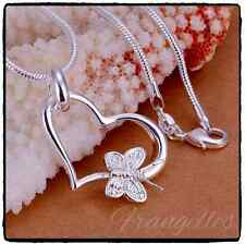 925 Sterling Silver Love Heart & Butterfly Pendant Necklace Chain FREE Gift Bag