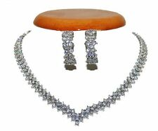 CLUSTER V  CUBIC ZIRCONIA-EVENING-WEDDING EARRING NECKLACE TENNIS  SET