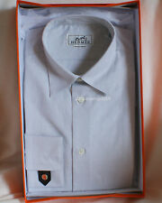 NIB Authentic HERMES Dress Shirt Logo Poplin Mother Pearl Leather Cuff 40 15.75