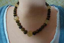 Chinese Antique Tiger Eye and Rock Crystal Necklace