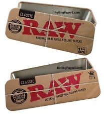 BOTH 1 1/4 + KING SIZE RAW Metal CONE/Rolling Paper CADDY Tin Storage Containers