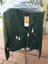 *RARE* Doma Shrunken Washed Leather Jacket Green Retail $700 S M L