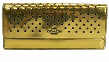 NWT Coach 53178 Perforated Gold Mirror Metallic Leather Soft Flap Front Wallet