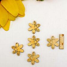 5 Blumen mit Ornament Holz Hänger 3cm 2 Löcher Karten Basteln Streudeko Frühling