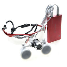 Dental Loupes Optical Glass+LED light Lamp Portable Head Surgical Binocular