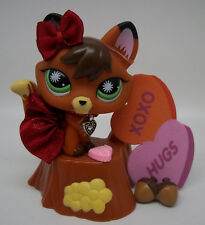 LITTLEST PET SHOP CUTE REDDISH BROWN FOX #807 SKIRT BOW TREE STUMP ACCESSORIES