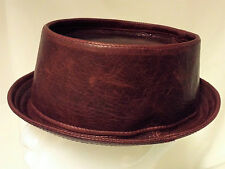 Jill Corbett pork pie hat uber quality distressed bordeaux leather To order UK