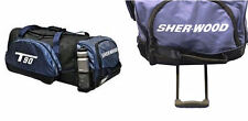 New Sherwood T90 hockey wheeled junior player equipment bag blue grey telescopic