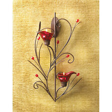 RUBY BLOSSOM TEALIGHT CANDLE HOLDER WALL SCONCE DECOR-13923