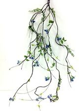 "Berry~Flower Vine Wired Garland. 44"" Long. Green, Frosted, Blue. Artificial"