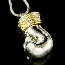w Swarovski Crystal 3D Boxing Glove Rocky Movie Lover Unisex Charm Necklace Cute