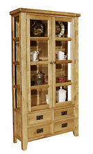 Roma solid oak furniture living room large glazed display cupboard cabinet