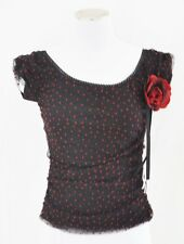 CHIC Black & Red Polka Dot Fitted Stretch Mesh Romantic Blouse Top Shirt S/M