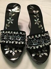 Shoes Ladies Sakinas Sz 6 Heels  Black Lacquer And Mother Of Pearl Flowers