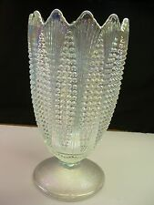 Beautiful & Large L.E. Smith Clear White Carnival Glass Corn Vase - Item 1570