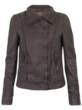 Muubaa Crateris Leather Funnel Jacket in Prune. RRP £359. M0326. UK 8. BNWT.