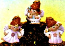 CERAMIC BISQUE SMALL CRACK POT ANGELS~SET OF 3- READY TO PAINT