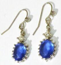 boucles d'oreilles percées rétro tombante cristal bleu saphir diamant * 4723