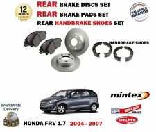 FOR HONDA FRV 1.7 2004-2007 NEW REAR BRAKE DISCS + PADS + HANDBRAKE SHOES KIT