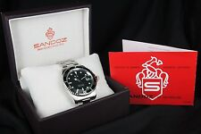 NEW SANDOZ SUBMARINER SAPPHIR BLACK BEZEL 100M MENS QUARTZ MENS WATCH/ B & P