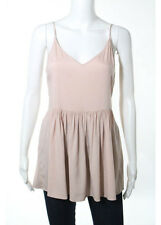 NWT BY CHANCE Blush Pink Silk Spaghetti Strap V Neck Ruched Blouse Sz L