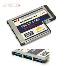 Laptop 54mm Express Card ExpressCard to 3 Port USB 3.0 Adapter 5Gbps US
