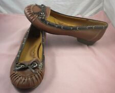 Sofft Slip On Ballet Flat Slipper Pump Brown Leather Bow Loafer Shoes 8.5 Worn1X