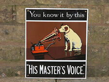 "1970s  ENAMEL ""HIS MASTER'S VOICE"" HMV Sign by Garnier of London  Nipper the Dog"