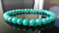 "Genuine Green Russian Amazonite Bead Bracelet for Men or Women Stretch 6mm 7.5"""